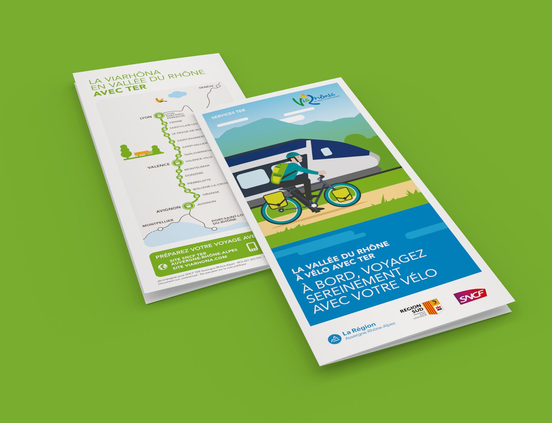 Dépliant sur l'itinéraire cyclable ViaRhôna avec horaires des TER en vallée du Rhône