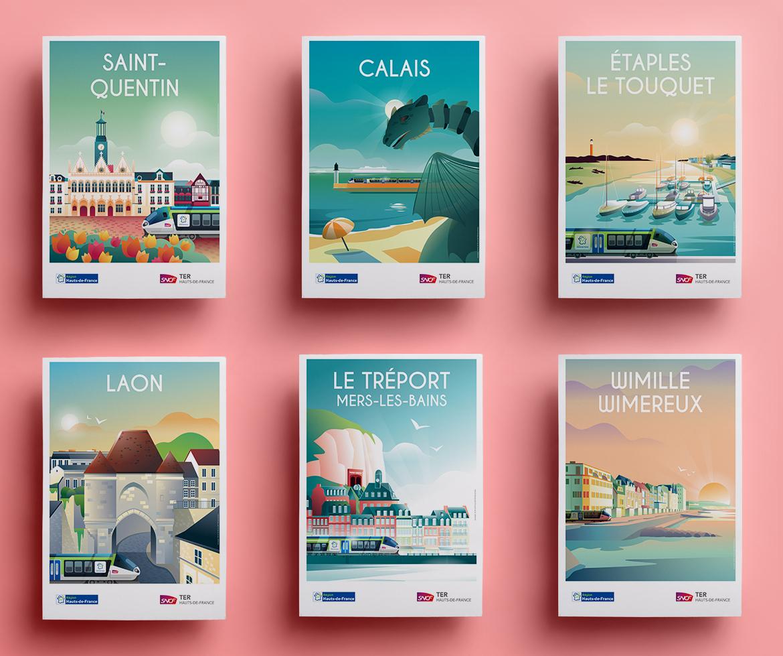 Affiches touristiques TER Hauts-de-France - St Quentin - Wimereux