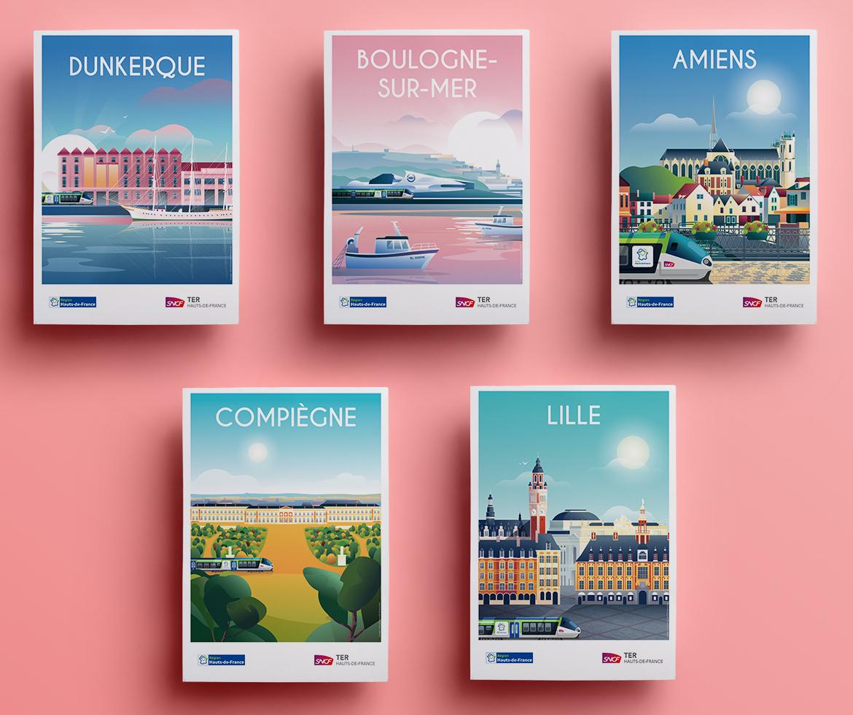 Affiches touristiques TER des Hauts de France