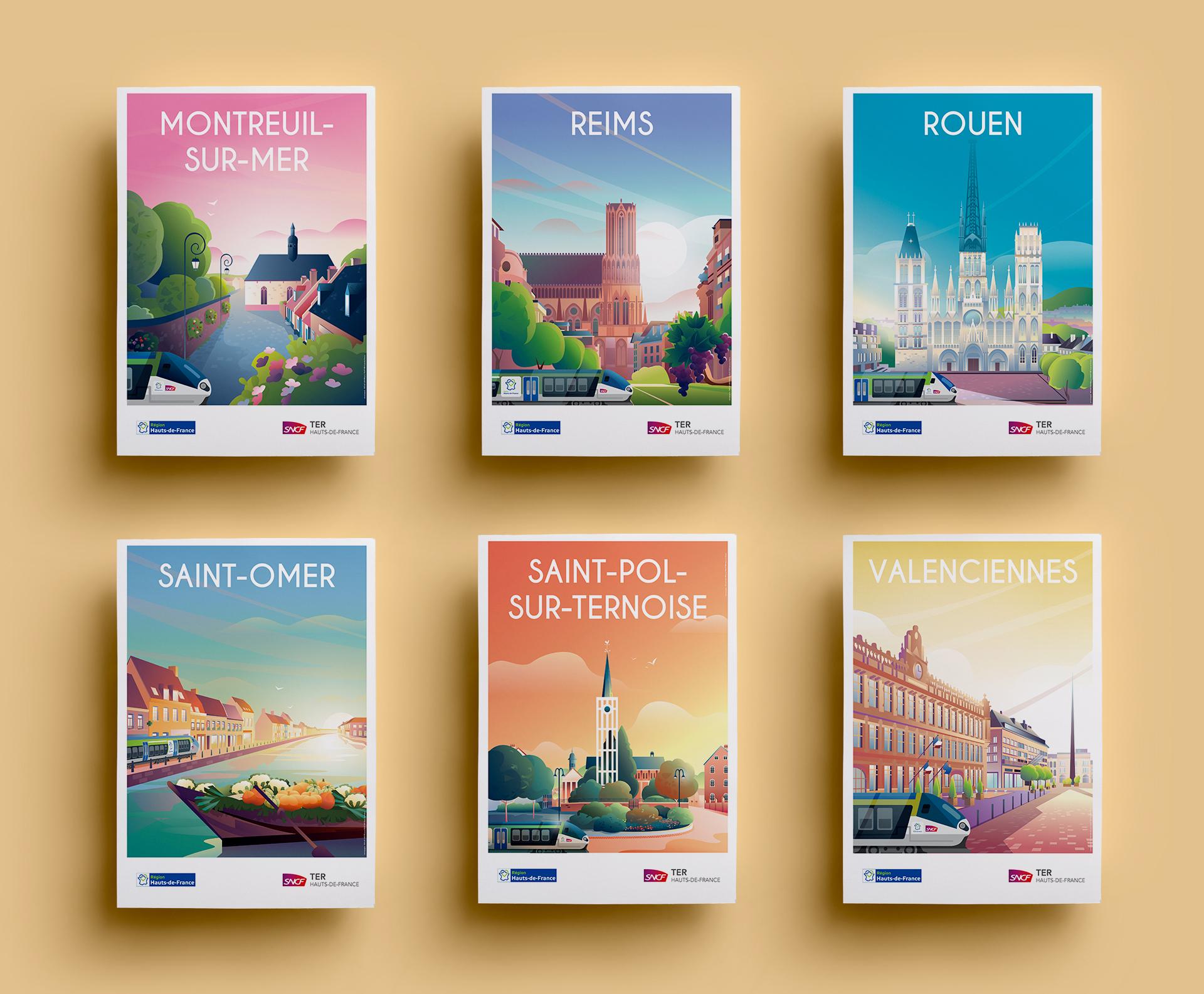 Affiches Touristiques - volet 2- SNCF Hauts de France
